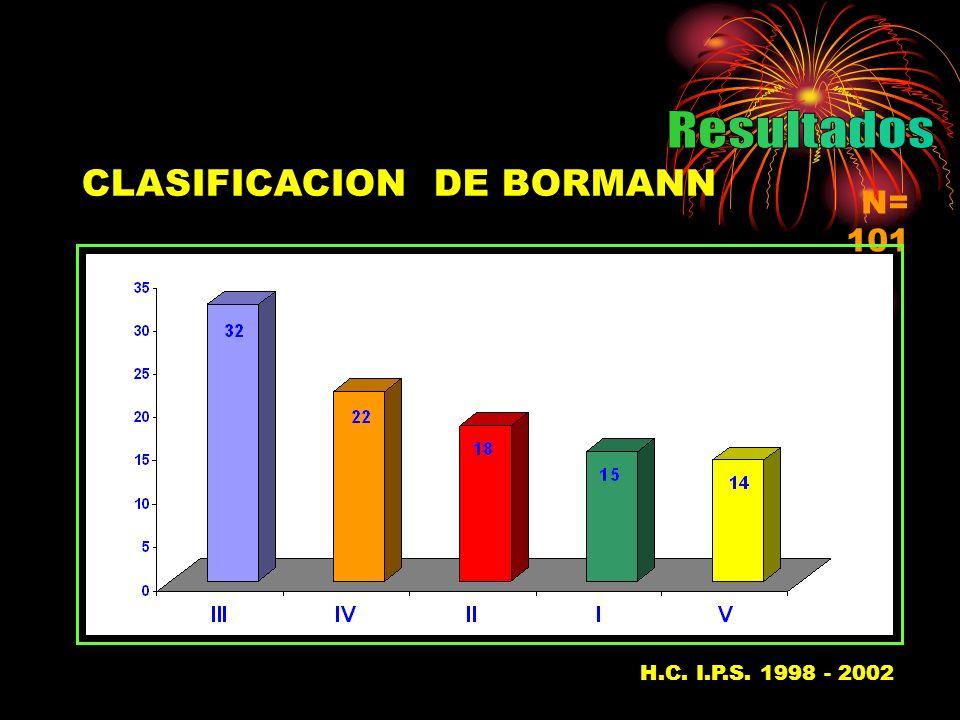 CLASIFICACION DE BORMANN N= 101 H.C. I.P.S. 1998 - 2002