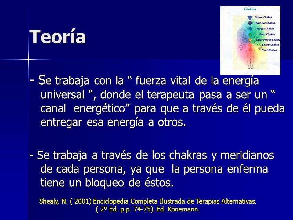 Teoría - S e trabaja con la fuerza vital de la energía universal, donde el terapeuta pasa a ser un canal energético para que a través de él pueda entregar esa energía a otros.