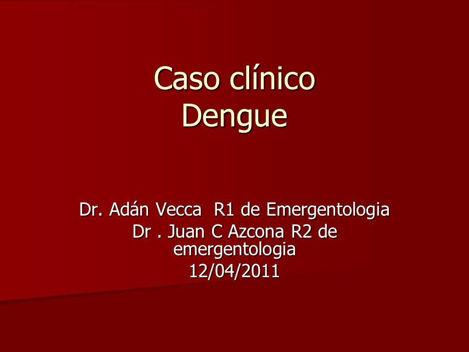 Caso clínico Dengue Dr. Adán Vecca R1 de Emergentologia Dr. Juan C Azcona R2 de emergentologia 12/04/2011