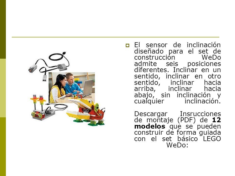 El sensor de inclinación diseñado para el set de construcción WeDo admite seis posiciones diferentes. Inclinar en un sentido, inclinar en otro sentido