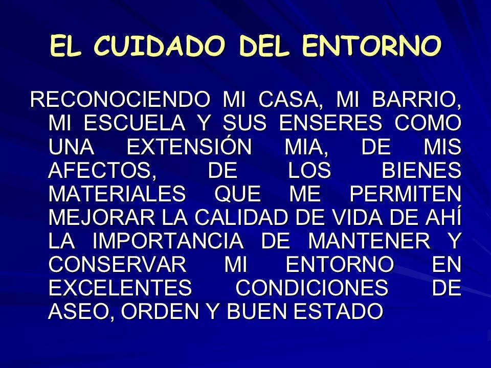 EL CUIDADO DEL ENTORNO RECONOCIENDO MI CASA, MI BARRIO, MI ESCUELA Y SUS ENSERES COMO UNA EXTENSIÓN MIA, DE MIS AFECTOS, DE LOS BIENES MATERIALES QUE