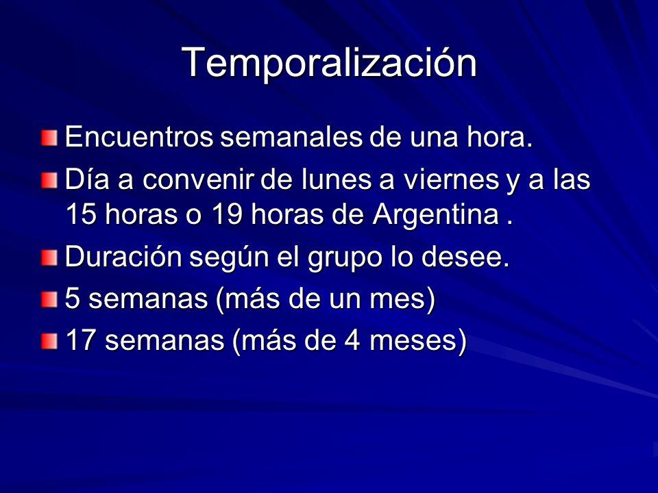Temporalización Encuentros semanales de una hora. Día a convenir de lunes a viernes y a las 15 horas o 19 horas de Argentina. Duración según el grupo