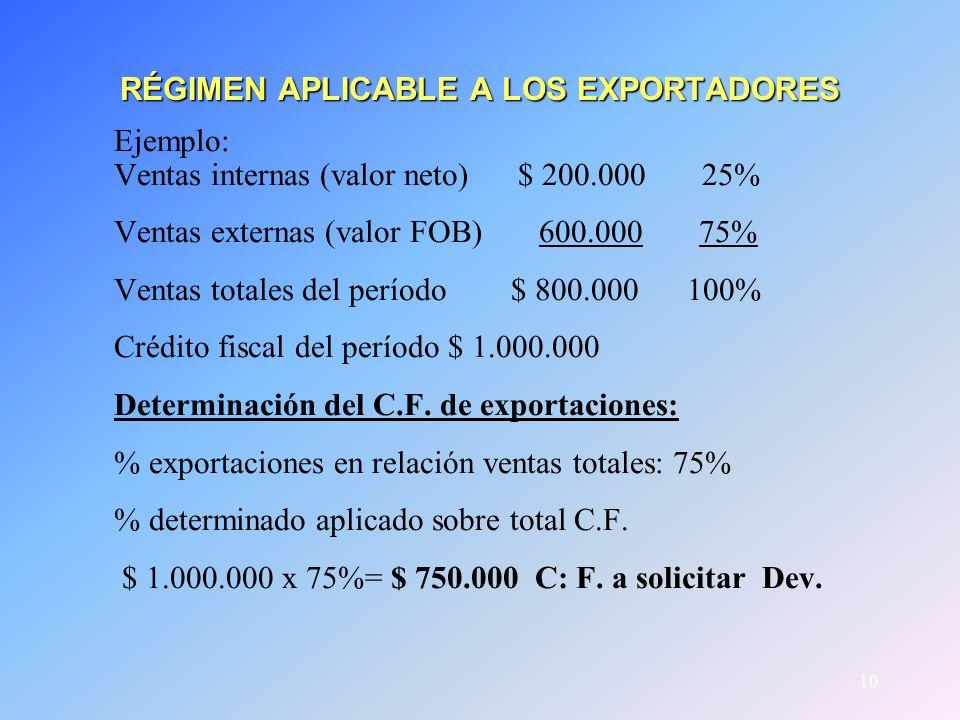 10 RÉGIMEN APLICABLE A LOS EXPORTADORES Ejemplo: Ventas internas (valor neto) $ 200.000 25% Ventas externas (valor FOB) 600.000 75% Ventas totales del