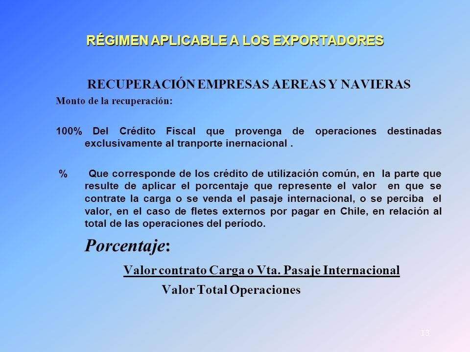 13 RÉGIMEN APLICABLE A LOS EXPORTADORES RECUPERACIÓN EMPRESAS AEREAS Y NAVIERAS Monto de la recuperación: 100% Del Crédito Fiscal que provenga de oper