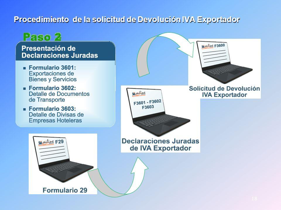 18 Procedimiento de la solicitud de Devolución IVA Exportador Procedimiento de la solicitud de Devolución IVA Exportador