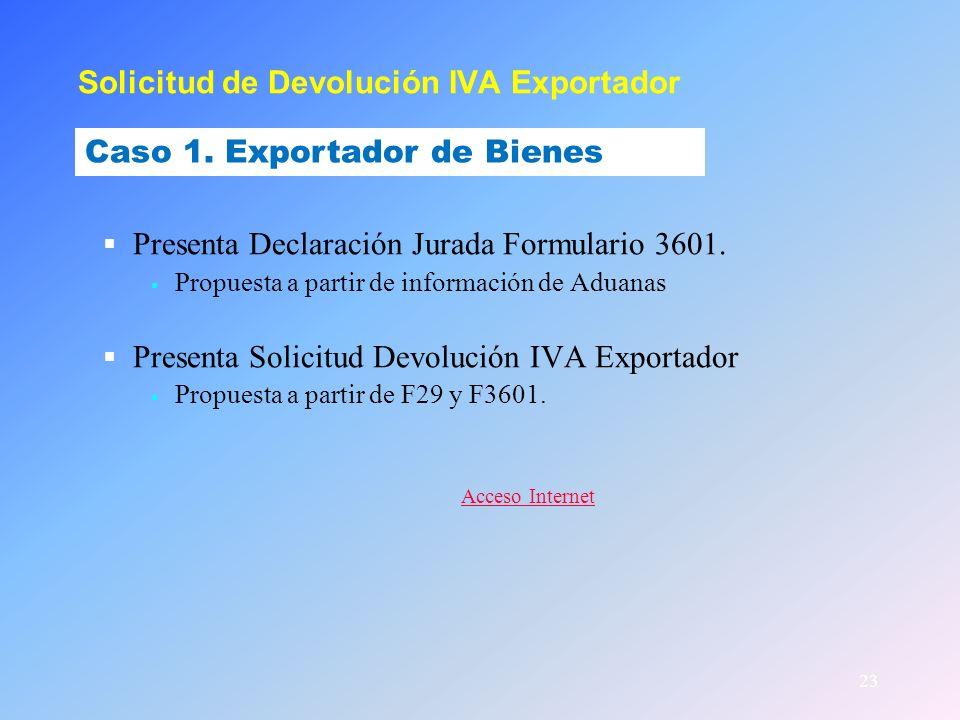 23 Presenta Declaración Jurada Formulario 3601. Propuesta a partir de información de Aduanas Presenta Solicitud Devolución IVA Exportador Propuesta a