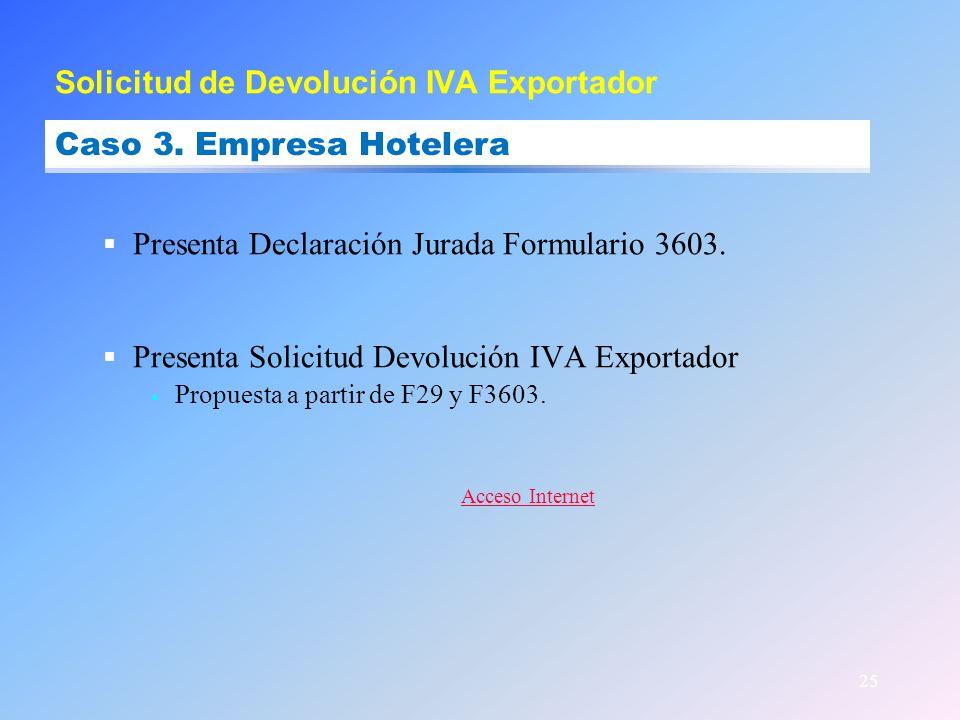 25 Presenta Declaración Jurada Formulario 3603. Presenta Solicitud Devolución IVA Exportador Propuesta a partir de F29 y F3603. Acceso Internet Solici