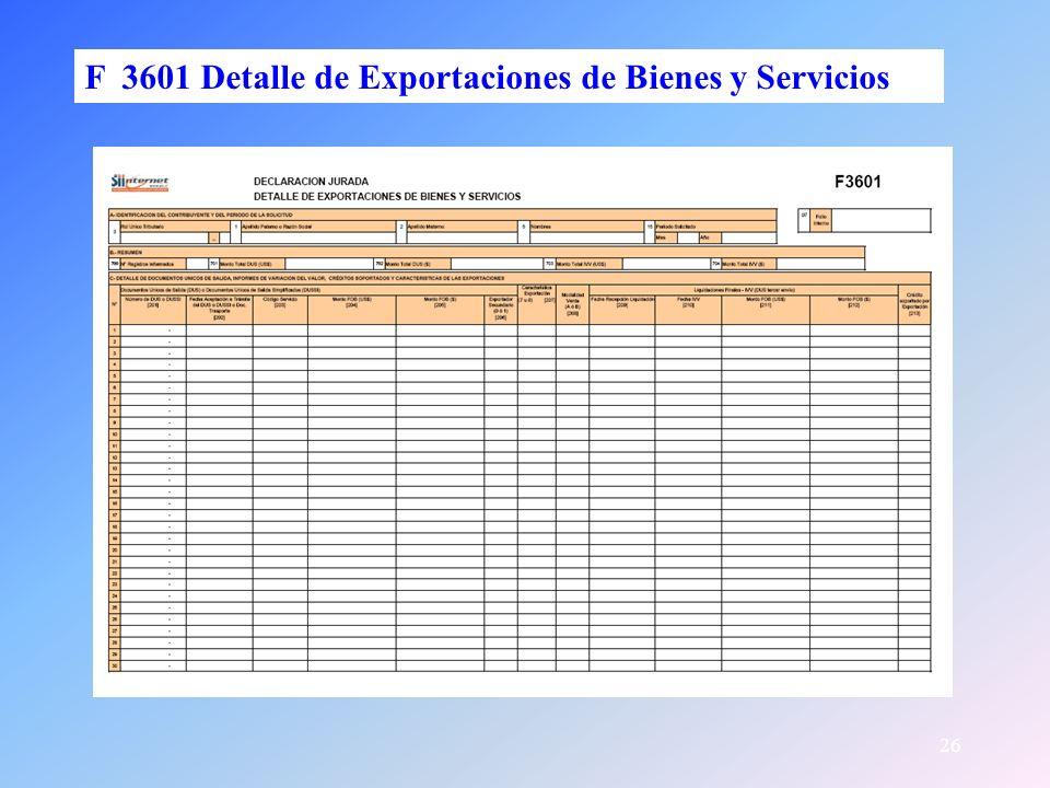 26 F 3601 Detalle de Exportaciones de Bienes y Servicios