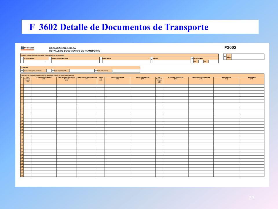 27 F 3602 Detalle de Documentos de Transporte