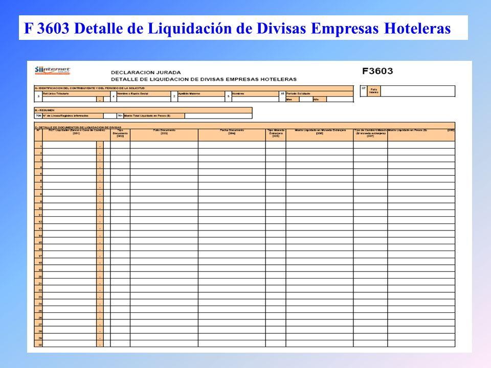 28 F 3603 Detalle de Liquidación de Divisas Empresas Hoteleras