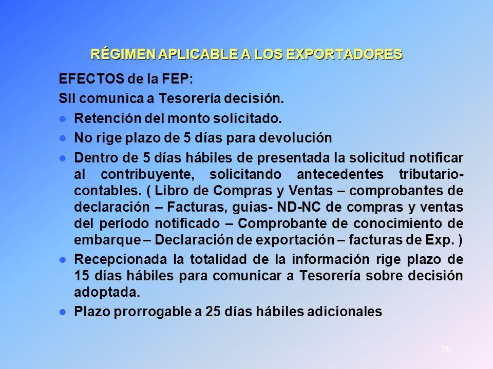 30 RÉGIMEN APLICABLE A LOS EXPORTADORES EFECTOS de la FEP: SII comunica a Tesorería decisión. Retención del monto solicitado. No rige plazo de 5 días