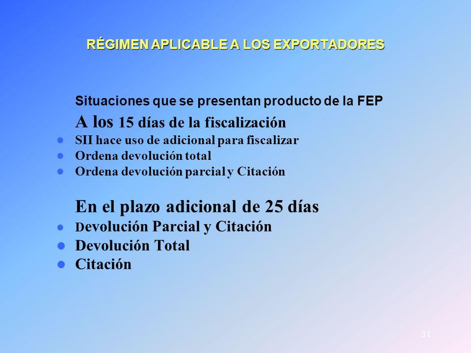 31 RÉGIMEN APLICABLE A LOS EXPORTADORES Situaciones que se presentan producto de la FEP A los 15 días de la fiscalización SII hace uso de adicional pa