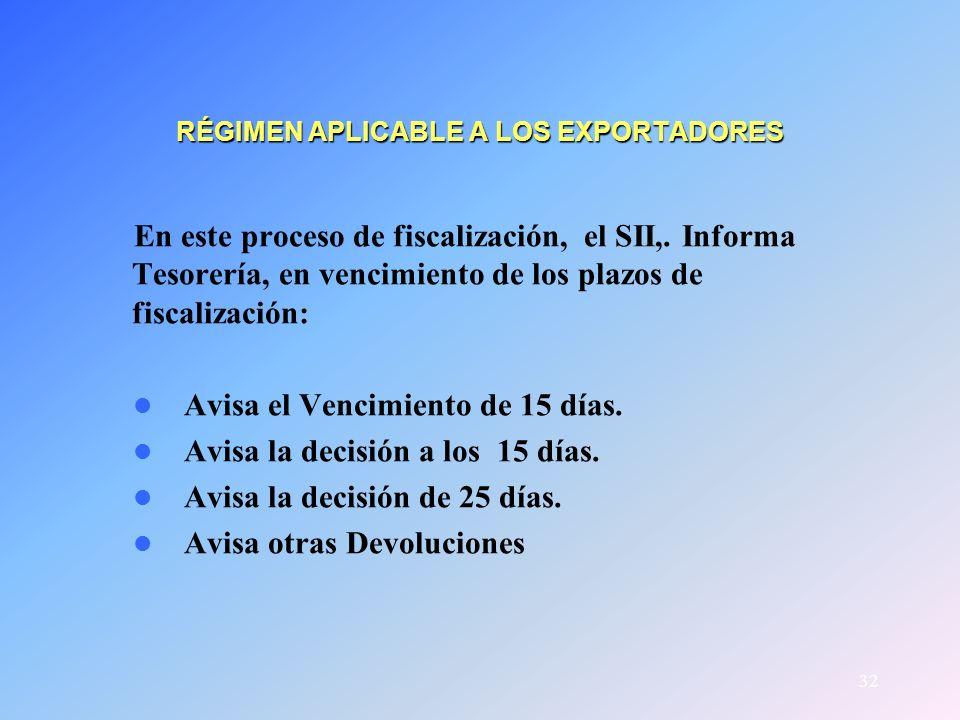 32 RÉGIMEN APLICABLE A LOS EXPORTADORES En este proceso de fiscalización, el SII,. Informa Tesorería, en vencimiento de los plazos de fiscalización: A