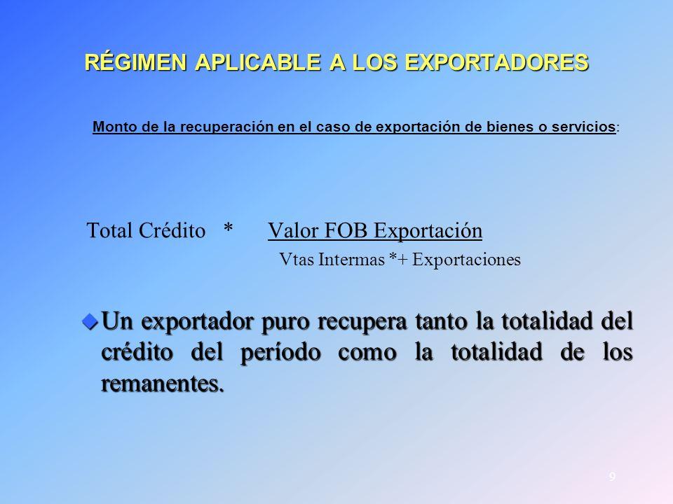 9 RÉGIMEN APLICABLE A LOS EXPORTADORES Monto de la recuperación en el caso de exportación de bienes o servicios : Total Crédito * Valor FOB Exportació