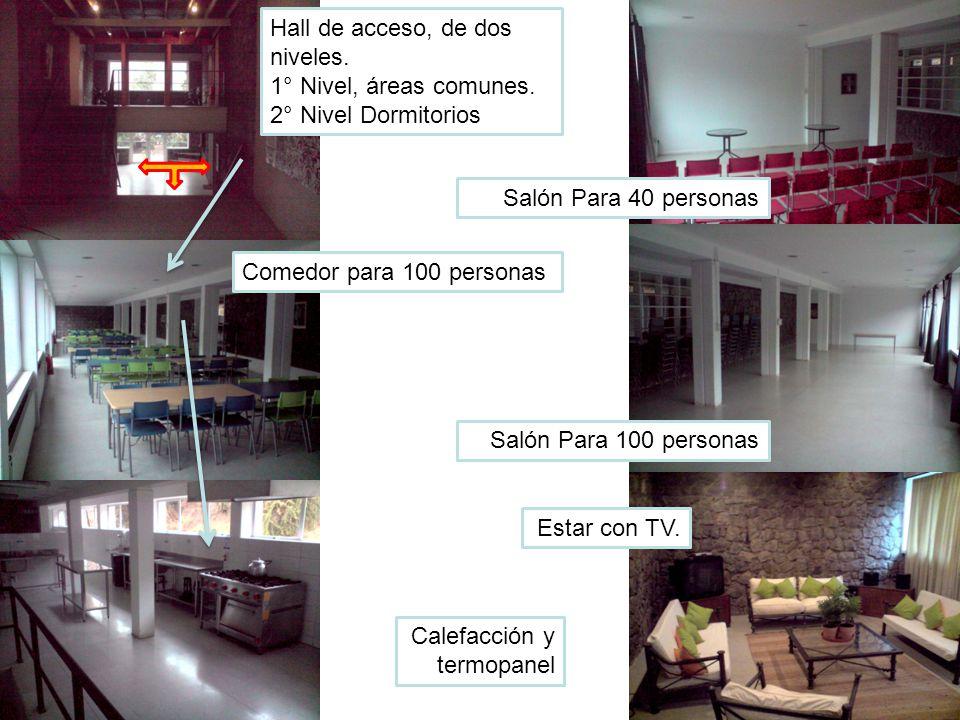 Hall de acceso, de dos niveles. 1° Nivel, áreas comunes. 2° Nivel Dormitorios Salón Para 100 personas Estar con TV. Salón Para 40 personas Comedor par