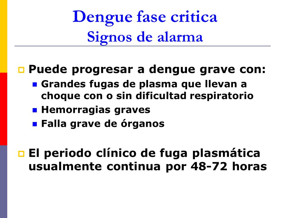 Dengue fase critica Signos de alarma Puede progresar a dengue grave con: Grandes fugas de plasma que llevan a choque con o sin dificultad respiratorio