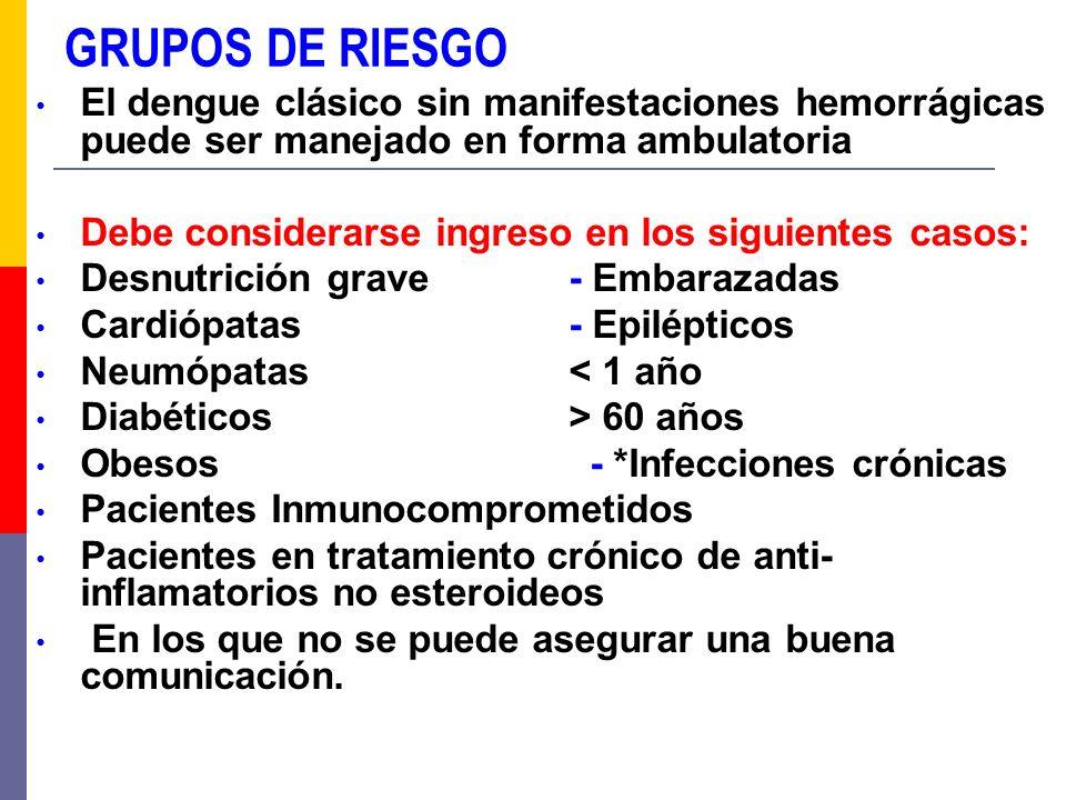 GRUPOS DE RIESGO El dengue clásico sin manifestaciones hemorrágicas puede ser manejado en forma ambulatoria Debe considerarse ingreso en los siguiente