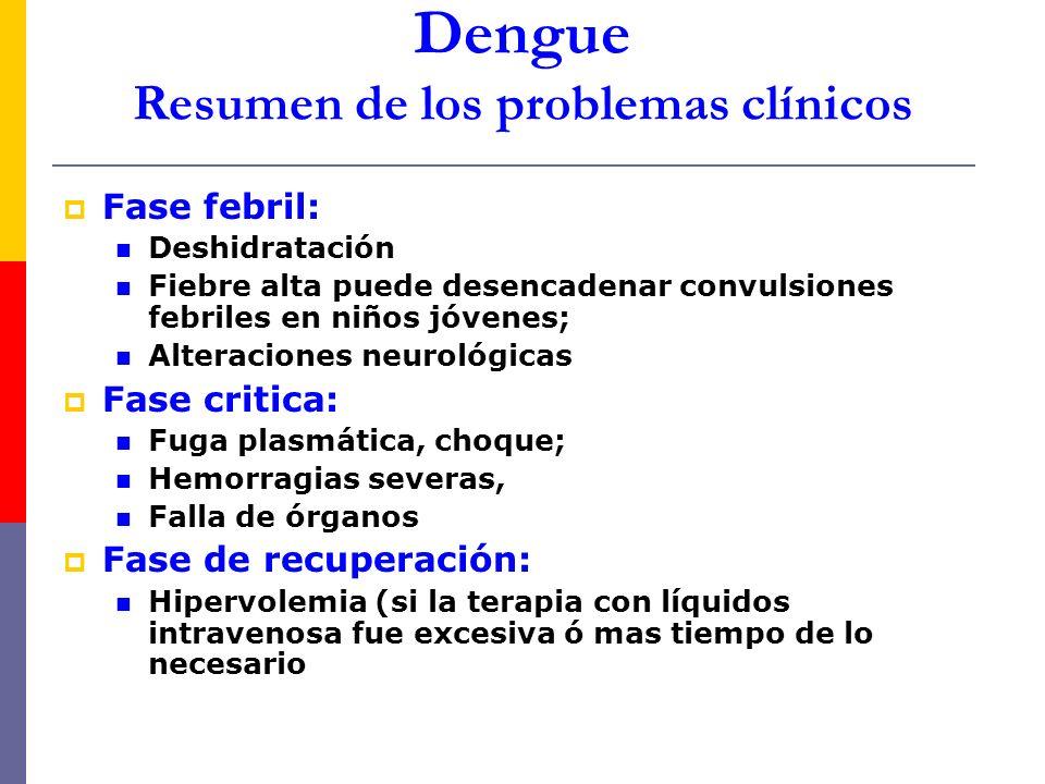 Dengue Resumen de los problemas clínicos Fase febril: Deshidratación Fiebre alta puede desencadenar convulsiones febriles en niños jóvenes; Alteracion