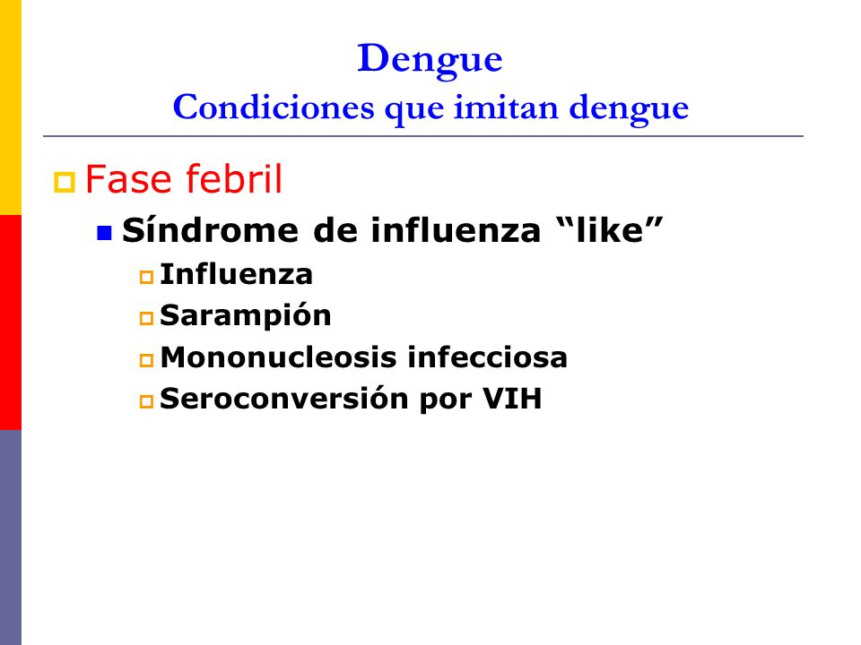 Dengue Condiciones que imitan dengue Fase febril Síndrome de influenza like Influenza Sarampión Mononucleosis infecciosa Seroconversión por VIH