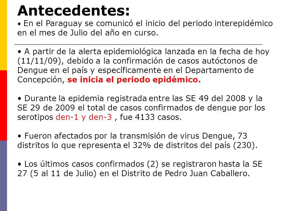 Antecedentes: En el Paraguay se comunicó el inicio del periodo interepidémico en el mes de Julio del año en curso. A partir de la alerta epidemiológic
