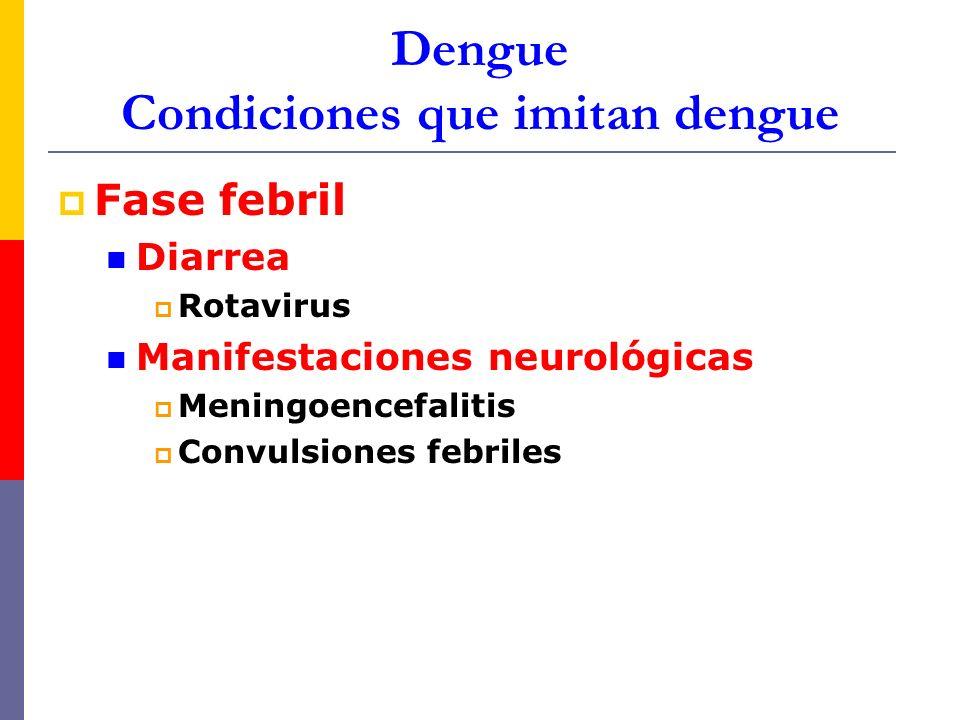 Dengue Condiciones que imitan dengue Fase febril Diarrea Rotavirus Manifestaciones neurológicas Meningoencefalitis Convulsiones febriles