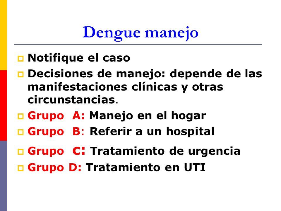 Dengue manejo Notifique el caso Decisiones de manejo: depende de las manifestaciones clínicas y otras circunstancias. Grupo A: Manejo en el hogar Grup