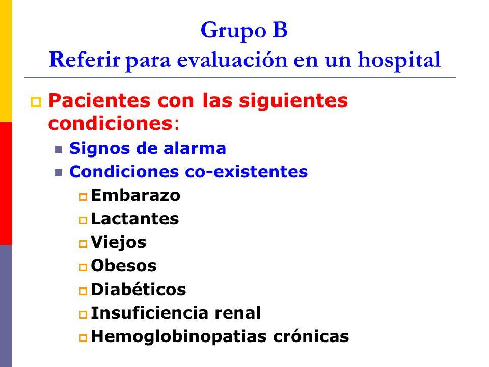 Grupo B Referir para evaluación en un hospital Pacientes con las siguientes condiciones: Signos de alarma Condiciones co-existentes Embarazo Lactantes