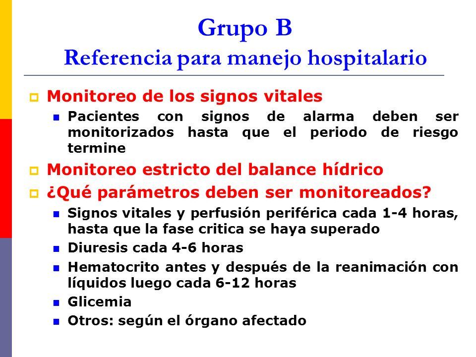 Grupo B Referencia para manejo hospitalario Monitoreo de los signos vitales Pacientes con signos de alarma deben ser monitorizados hasta que el period