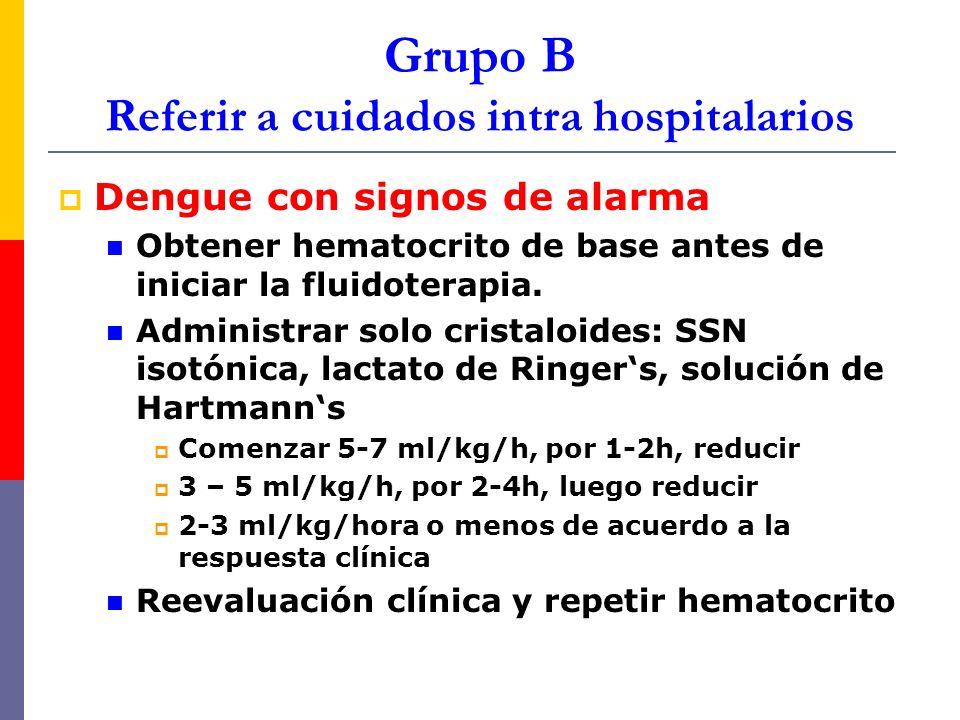 Grupo B Referir a cuidados intra hospitalarios Dengue con signos de alarma Obtener hematocrito de base antes de iniciar la fluidoterapia. Administrar