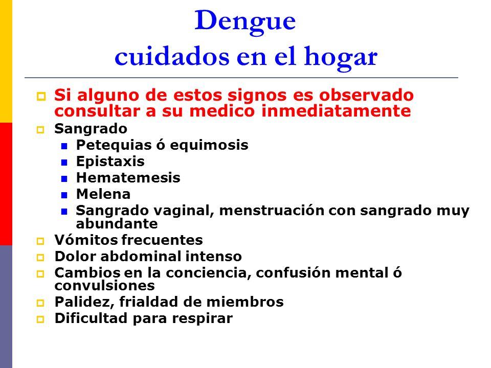 Dengue cuidados en el hogar Si alguno de estos signos es observado consultar a su medico inmediatamente Sangrado Petequias ó equimosis Epistaxis Hemat