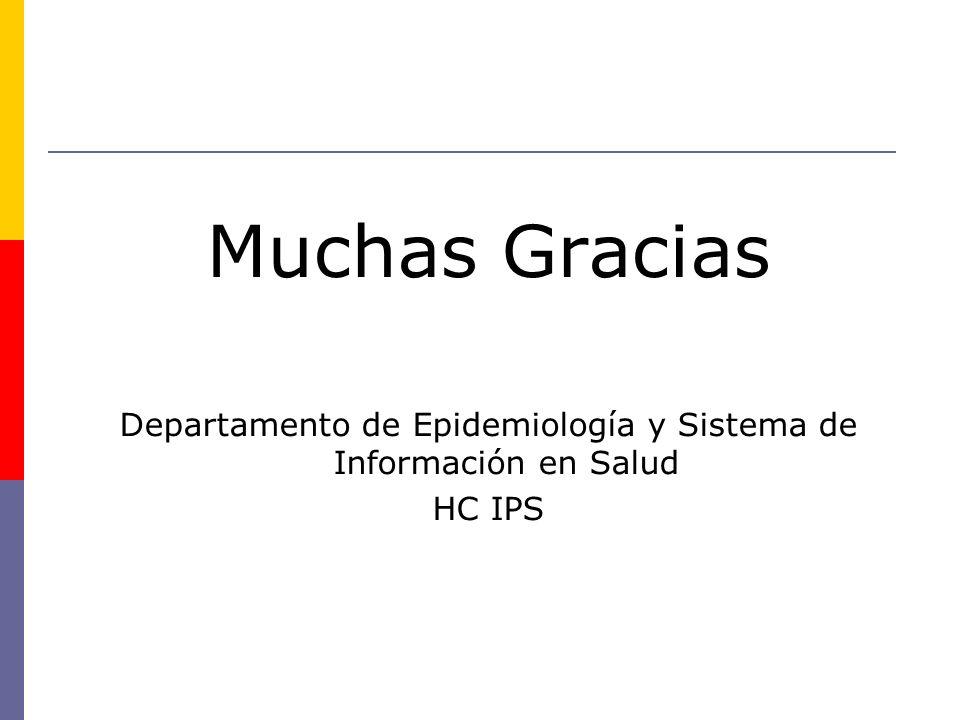 Muchas Gracias Departamento de Epidemiología y Sistema de Información en Salud HC IPS