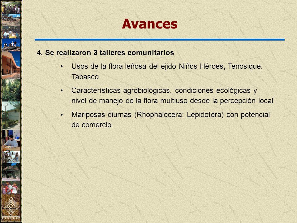 4. Se realizaron 3 talleres comunitarios Usos de la flora leñosa del ejido Niños Héroes, Tenosique, Tabasco Características agrobiológicas, condicione