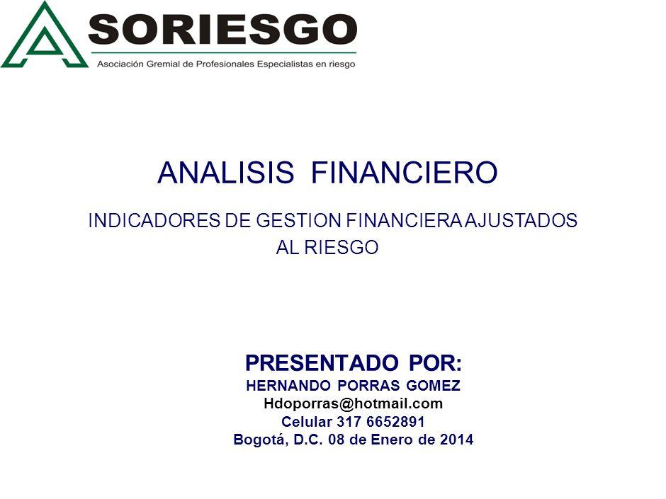 ANALISIS FINANCIERO INDICADORES DE GESTION FINANCIERA AJUSTADOS AL RIESGO PRESENTADO POR: HERNANDO PORRAS GOMEZ Hdoporras@hotmail.com Celular 317 6652891 Bogotá, D.C.