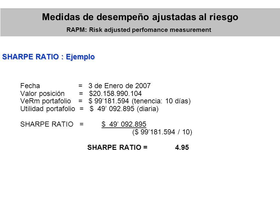 Donde: = Utilidad neta = Pérdida esperada = Capital at Risk RAROC: Risk adjusted Return on Capital Medidas de desempeño ajustadas al riesgo RAPM: Risk