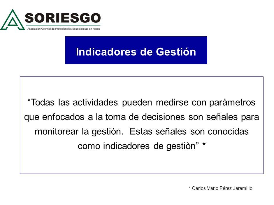 Indicadores de Gestión Todas las actividades pueden medirse con paràmetros que enfocados a la toma de decisiones son señales para monitorear la gestiòn.