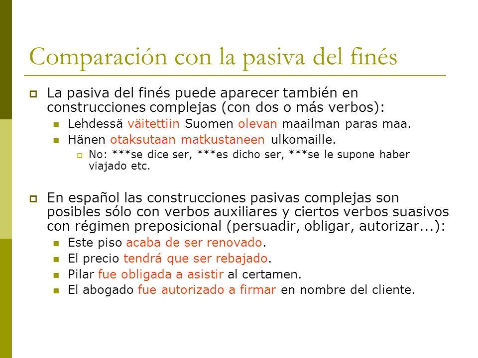 Comparación con la pasiva del finés La pasiva del finés puede aparecer también en construcciones complejas (con dos o más verbos): Lehdessä väitettiin