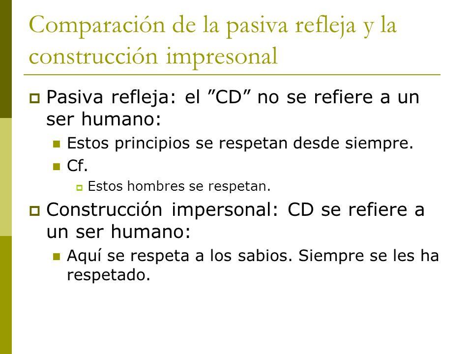Comparación de la pasiva refleja y la construcción impresonal Pasiva refleja: el CD no se refiere a un ser humano: Estos principios se respetan desde