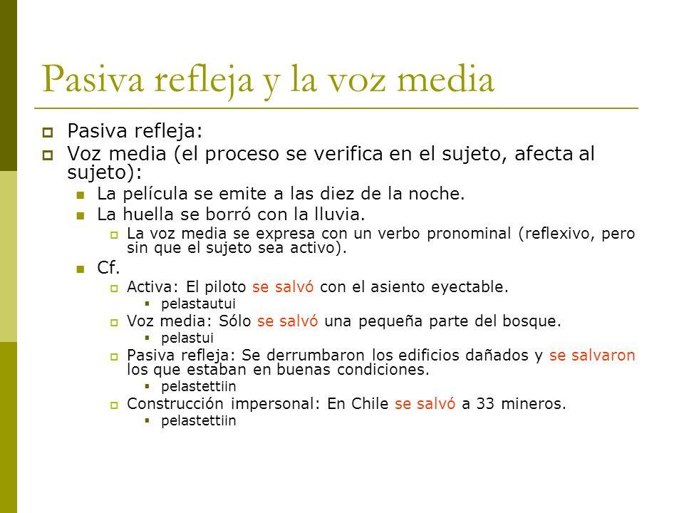 Pasiva refleja y la voz media Pasiva refleja: Voz media (el proceso se verifica en el sujeto, afecta al sujeto): La película se emite a las diez de la