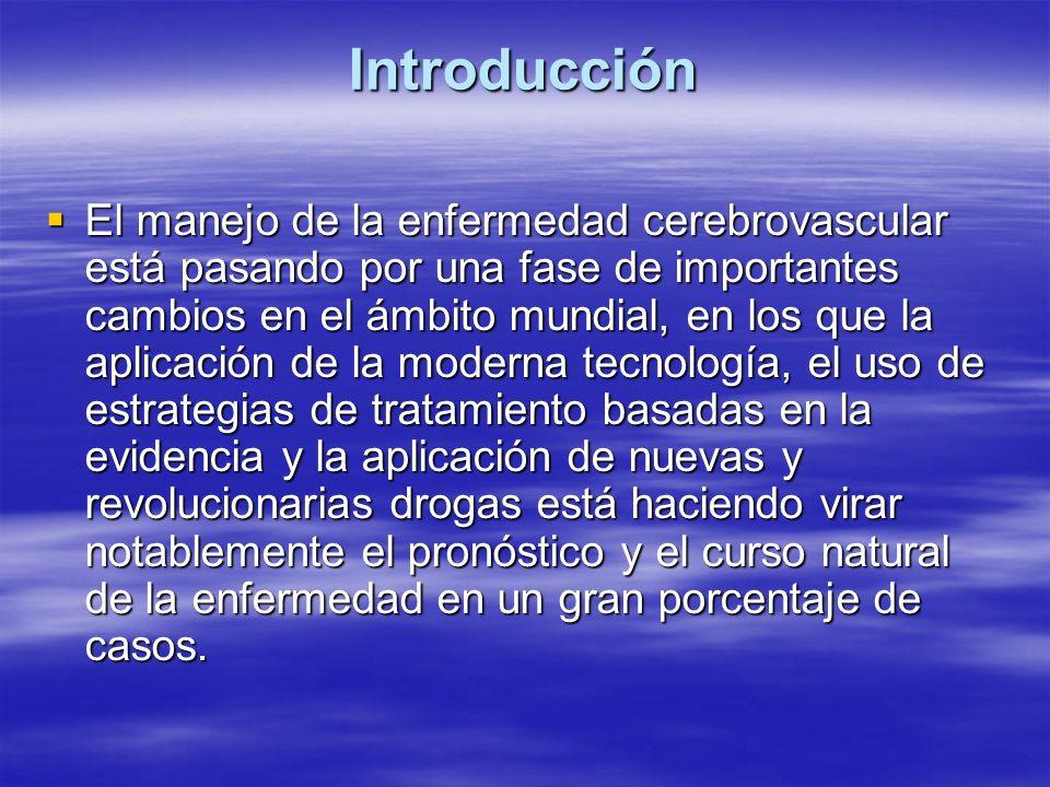 El moderno manejo de la enfermedad cerebrovascular (ECV) incluye: 1- Medidas para diagnosticar tempranamente el accidente cerebrovascular (ACV) 2- Limitar las consecuencias neurológicas del mismo 3- Prevenir y tratar las complicaciones 4- Estrategias para prevenir un nuevo episodio, incluyendo modificación de factores de riesgo y terapia antiagregante e hipolipemiante (Prevención secundaria) 5- Promover una efectiva rehabilitación El moderno manejo de la enfermedad cerebrovascular (ECV) incluye: 1- Medidas para diagnosticar tempranamente el accidente cerebrovascular (ACV) 2- Limitar las consecuencias neurológicas del mismo 3- Prevenir y tratar las complicaciones 4- Estrategias para prevenir un nuevo episodio, incluyendo modificación de factores de riesgo y terapia antiagregante e hipolipemiante (Prevención secundaria) 5- Promover una efectiva rehabilitación