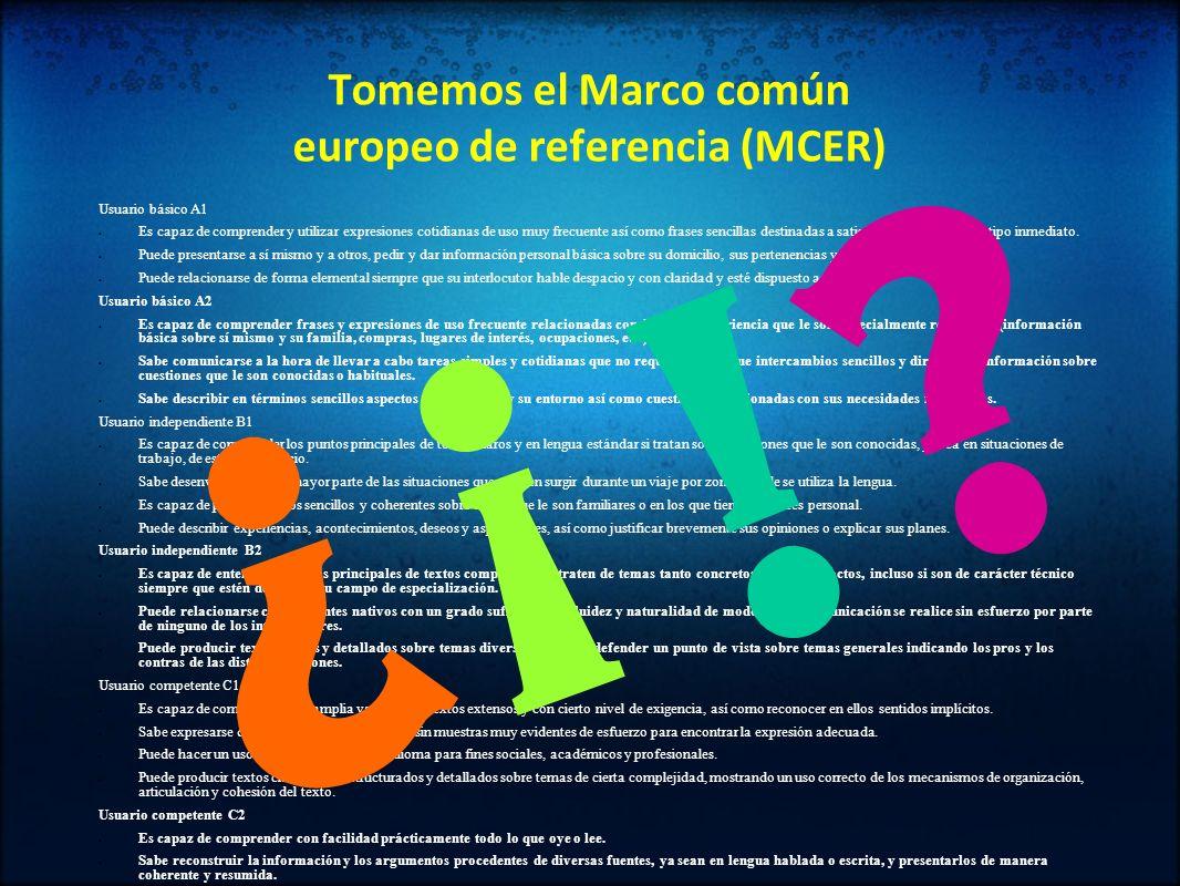 Tomemos el Marco común europeo de referencia (MCER) Usuario básico A1 Es capaz de comprender y utilizar expresiones cotidianas de uso muy frecuente as