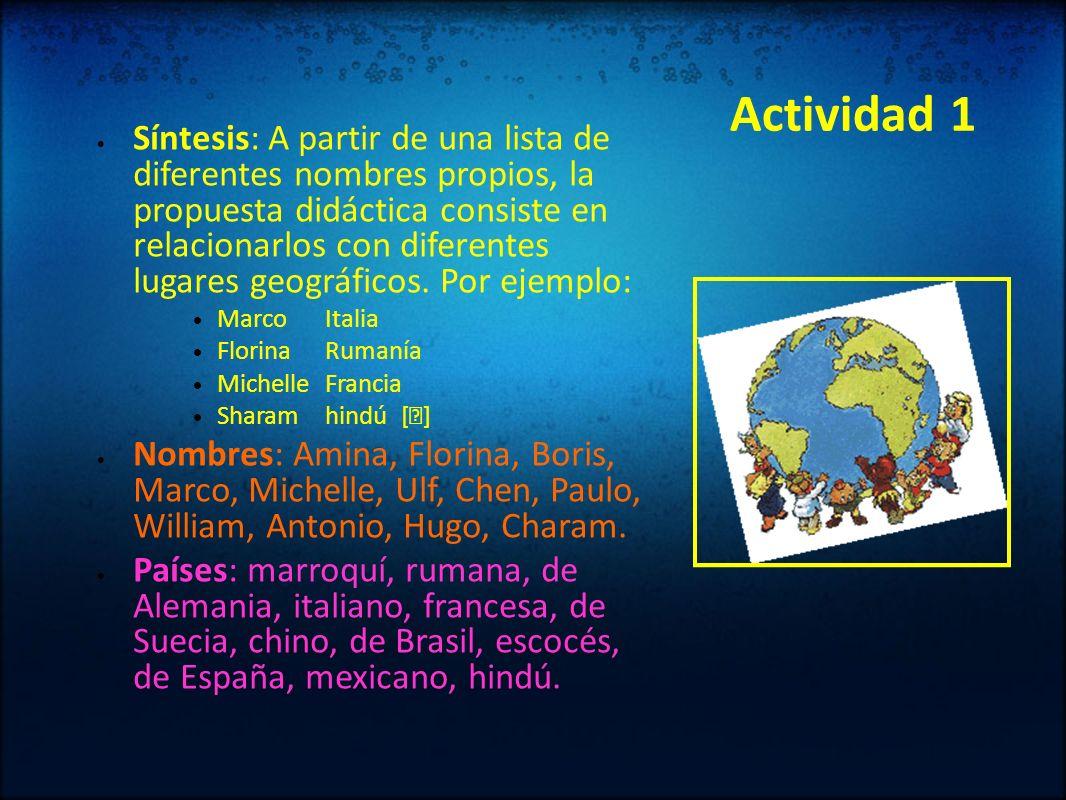 Actividad 1 Síntesis: A partir de una lista de diferentes nombres propios, la propuesta didáctica consiste en relacionarlos con diferentes lugares geo