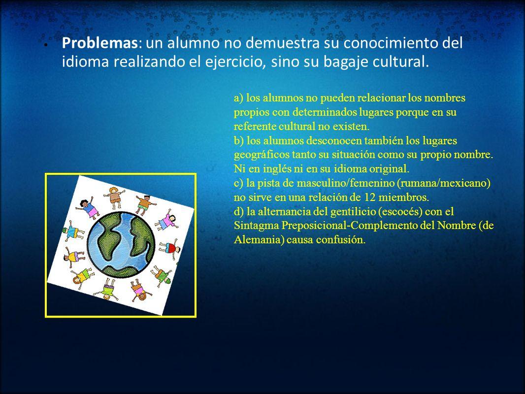 Problemas: un alumno no demuestra su conocimiento del idioma realizando el ejercicio, sino su bagaje cultural. a) los alumnos no pueden relacionar los