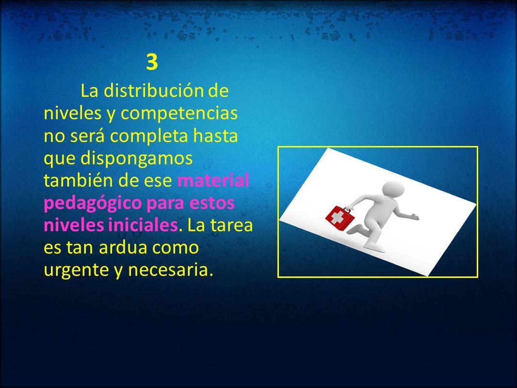 3 La distribución de niveles y competencias no será completa hasta que dispongamos también de ese material pedagógico para estos niveles iniciales. La
