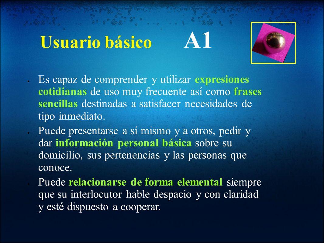Usuario básico A1 Es capaz de comprender y utilizar expresiones cotidianas de uso muy frecuente así como frases sencillas destinadas a satisfacer nece