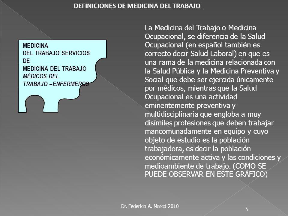 Dr. Federico A. Marcó 2010 5 La Medicina del Trabajo o Medicina Ocupacional, se diferencia de la Salud Ocupacional (en español también es correcto dec