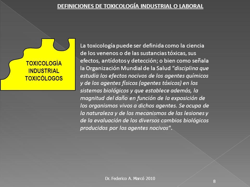 Dr. Federico A. Marcó 2010 8 La toxicología puede ser definida como la ciencia de los venenos o de las sustancias tóxicas, sus efectos, antídotos y de