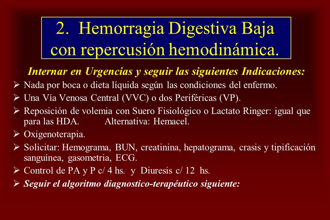 2. Hemorragia Digestiva Baja con repercusión hemodinámica. Internar en Urgencias y seguir las siguientes Indicaciones: Nada por boca o dieta líquida s