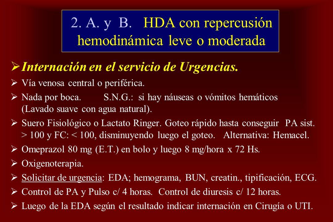 2. A. y B. HDA con repercusión hemodinámica leve o moderada Internación en el servicio de Urgencias. Vía venosa central o periférica. Nada por boca. S
