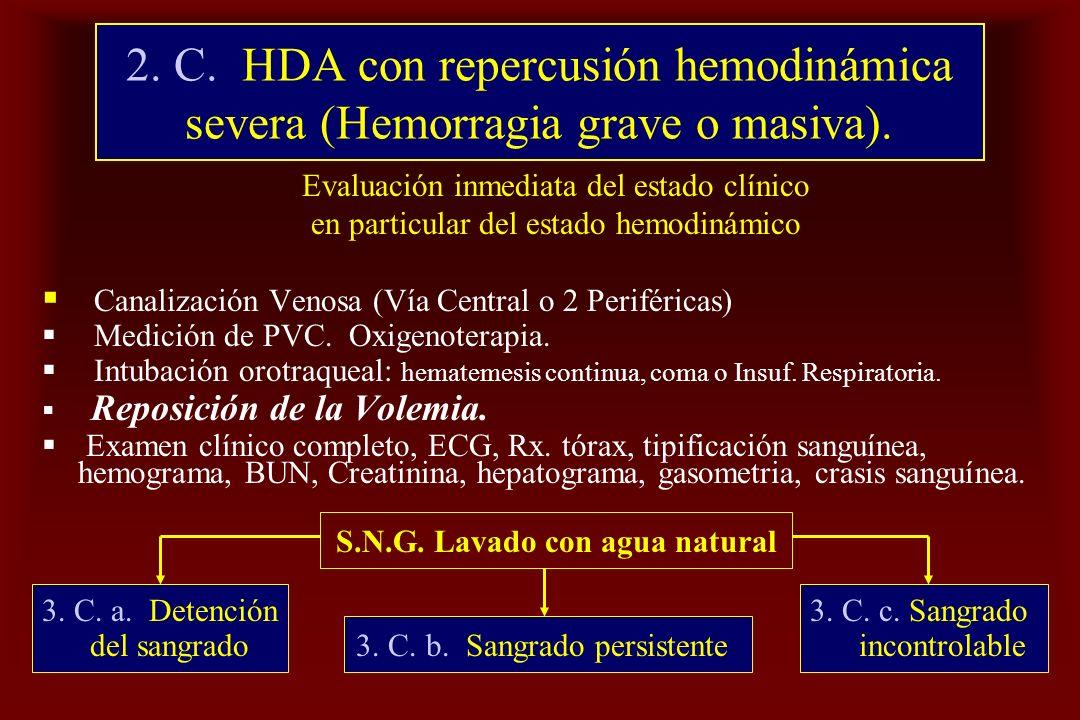 2. C. HDA con repercusión hemodinámica severa (Hemorragia grave o masiva). Evaluación inmediata del estado clínico en particular del estado hemodinámi