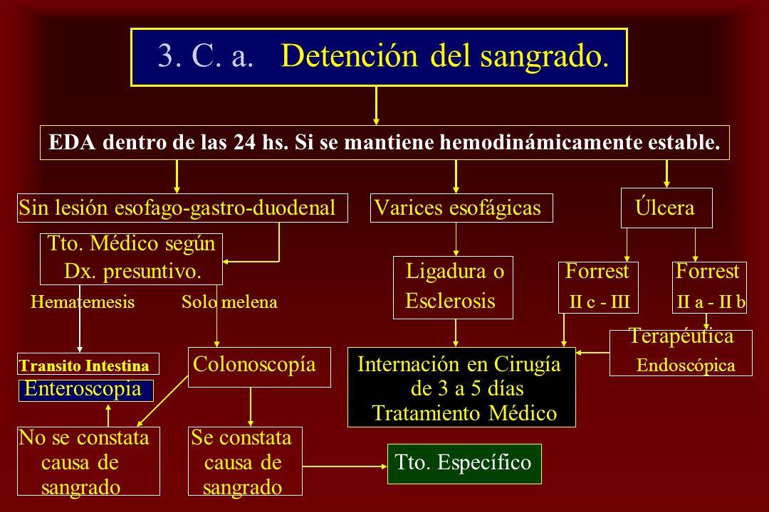 3. C. a. Detención del sangrado. EDA dentro de las 24 hs. Si se mantiene hemodinámicamente estable. Sin lesión esofago-gastro-duodenal Varices esofági